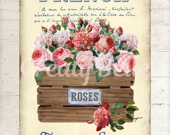 French Flower Shop, Crate of Roses, Instant Digital Download Printable Graphic Transfer Image 1329