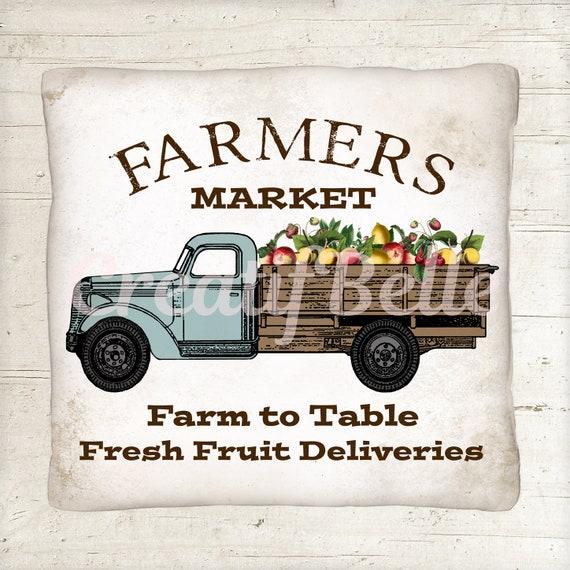 Wood Background Plus Transparent Background Farmers Market Fruit Truck Instant Digital Download Printable Graphic Image 1574