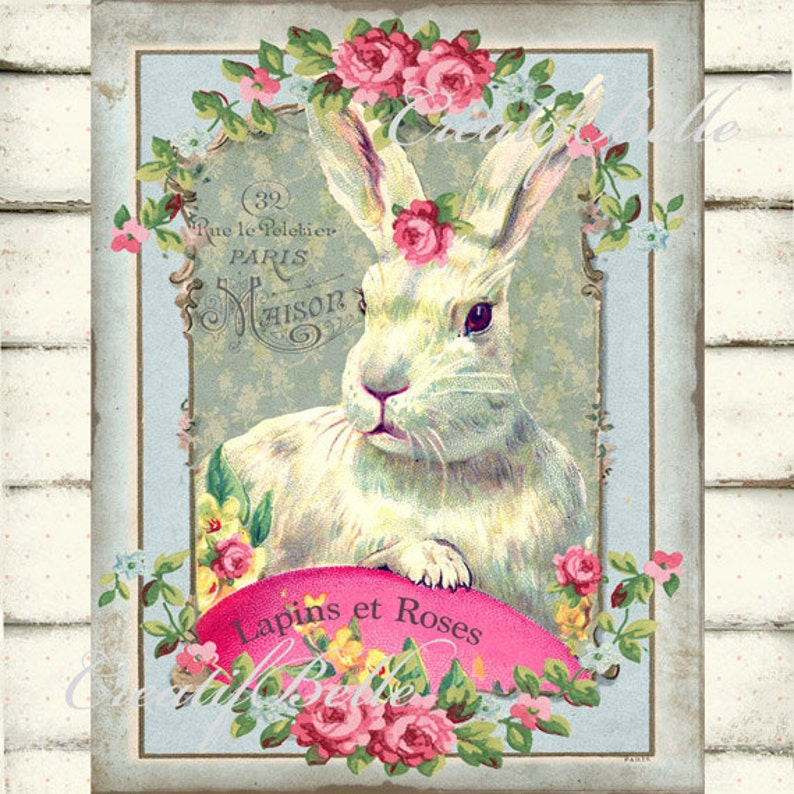 Vintage Shabby Chic Easter Bunny Large Image Instant Digital Download  Printable Graphic Transfer 0690