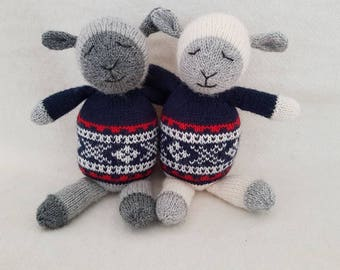 Sweet Scandi sheep - handknitted sheep with Norwegian pattern