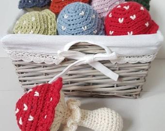 Toadstool baby rattle - hand crocheted in cotton yarn. Baby shower gift, new baby, baby toy, nursery decor, woodland theme, mushroom