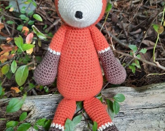 Handcrocheted fox toy - woodland, forest, nursery