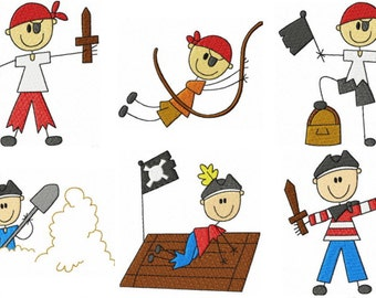 32 Pirate Embroidery Design Files with Finger Puppets & Memory Matching Game