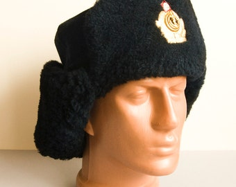 Winter hat - Vintage Military USSR Ear Clothing Russia Army Soviet Union Marine Fleet CPCP CCCP 1970 Wool Sheep Officer