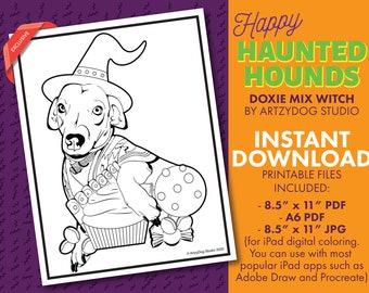 DIGITAL Dachshund Mix Chiweenie Dog Coloring Sheet. PDF. JPG