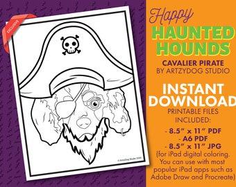 DIGITAL Cavalier Pirate Dog Halloween Coloring Sheet. PDF. JPG