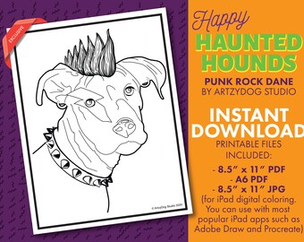 DIGITAL Punk Rock Great Dane Dog Coloring Sheet. PDF. JPG
