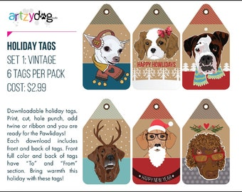 Dog Themed Holiday Gift Tags - Instant Download