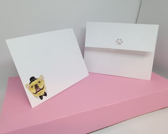 Pack of 12 French Bulldog Notecards