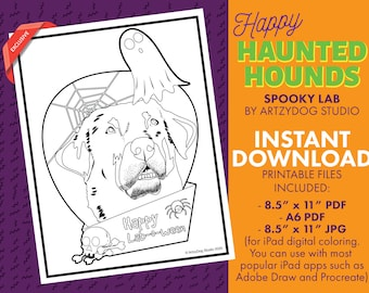 DIGITAL Spooky Labrador Retriever Dog Halloween Coloring Sheet. PDF. JPG