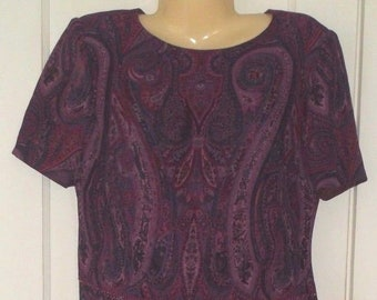 By Cynthia Howie for Maggy Boutique ~ Size 6 ( Small ) ~ Paisley Dress ~ Maxi Skirt & Matching Top ~ Plum Colors ~ Career / Church Wear