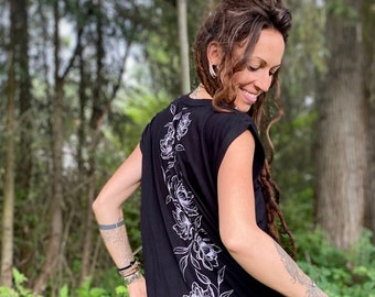 Peony Ladies Cap Sleeve Tee, Tattoo art flowers handprinted Womens Muscle Top, Womens Muscle Shirt, printed black workout Top