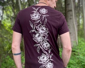PEONY Cotton unisex Tee, Tattoo Flower Tshirt, Original Art screen printed T-Shirt, Alternative Tee Shirt for him, Tattoo Art Clothing