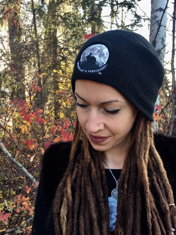 Bunnymoon slouchy black knit Toque embroidered Beanie with Bunnymoon Logo slouchy Hat for Women and Men Animal lover hat Rabbit toque