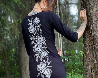 PEONY Bamboo Tunic, handprinted Bamboo short Dress, Peony print short Summer Tunic, Tattoo Art print, Peonies print Clothing