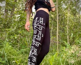 Elvish BAMBOO Leggings Sindarin, hand printed Elvish Leggings, printed black Bamboo Woodland Tights, Tengwar, unique natural Tights