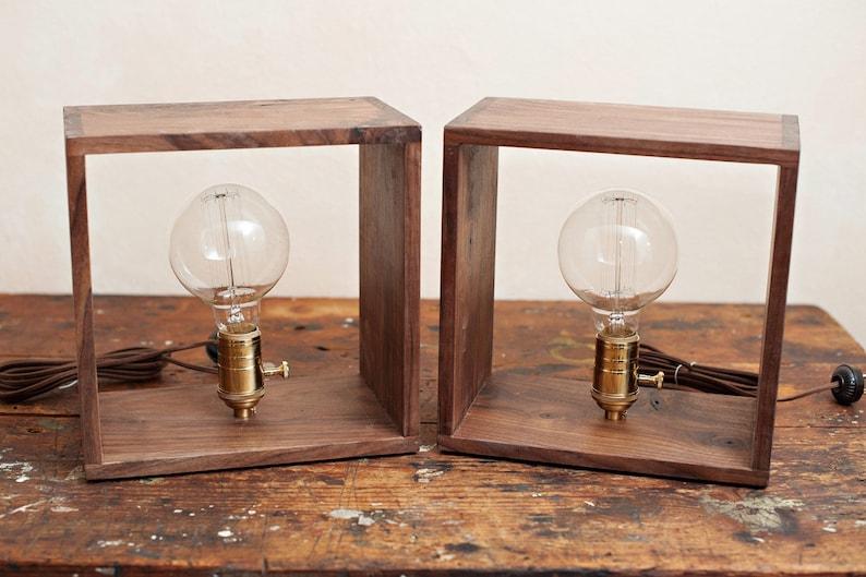 Shadow Box Edison Lamp in Air-dried Ash