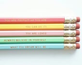 Motivational pencils - Engraved pencils - Self care -Back to school - Gift for her - Stationery - Female empowerment - Teen gift, Cheer up