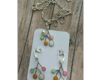 Leaf necklace set, lariat necklace set, leaf charm, gift for her, tree jewelry, branch earrings, summer earring, everyday earring