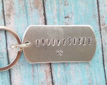 Indivisible keychain, one America, hurricane relief, disaster relief, charity gift, America gift, gift for friend,, gift
