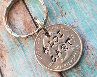 Aldi quarter, Aldi cart quarter, coin keychain, hand stamped key ring, grocery store  key chain, personalized quarter key chain, cart keeper