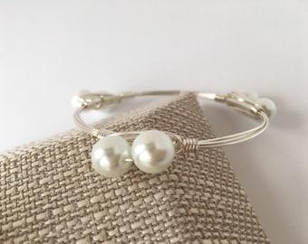 Pearl Wire Wrapped Bangle, Wire Wrap Bangle, Wire Wrapped Bracelet, Wire Wrap  Bracelet, Wire Bangle, Pearl Bangle