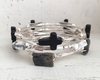 Set of 3 Wire Wrapped Bangles, Cross Bangle, Stacked Bangles, Inspirational Jewelry, Baptism Gift