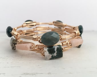 Set of Wire Wrapped Bangles, Wire Bangles, Stackable Bracelets, Ocean Jasper Bangle