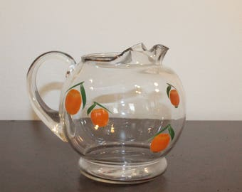 Vintage Clear Glass Juice Pitcher with Hand-Painted Oranges