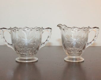 Etched Clear Glass Cream and Sugar
