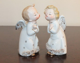 TWO – Pair of Kissing Angels – White with Gold Stars and Spaghetti Trim