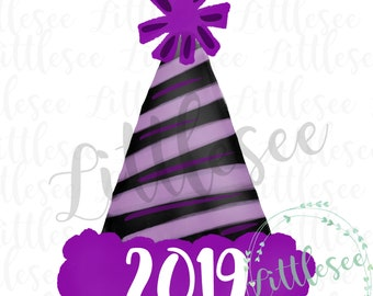 Party Hat New Year Watercolor 2019 Watercolor New Year S Etsy