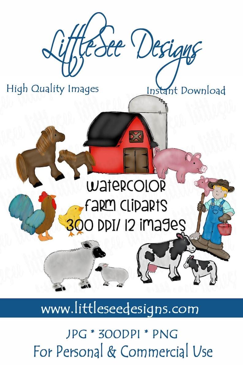 Farm Barnyard Watercolor Bundle Sublimation  Barnyard Download  DIY School Shirt  Farm Clipart  Hand Drawn Doodles