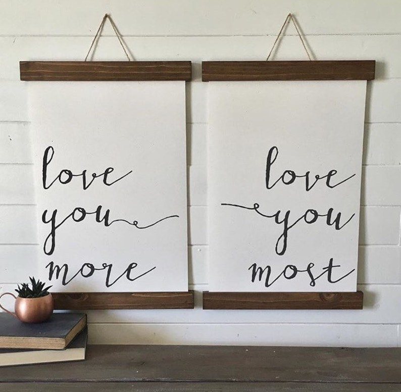 3e35c423b0db Love you more love you most canvas art print wood sign canvas