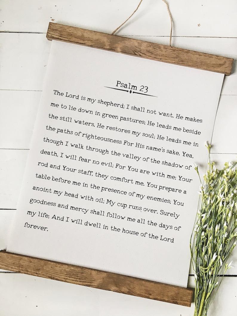 Psalm 23/wall art/bible verse art/canvas print/wall decor/