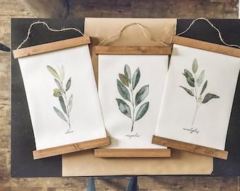 Eucalyptus olive magnolia prints/tree branch print set/botanical wall art/canvas art print/wall art/home decor