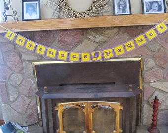 Happy Easter banner, French banner, Joyeuses Paques banner, Easter bunting, Purple and yellow
