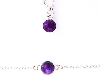 Luxurious Sugilite Gemstone/ Gold Fill/ Silver/Delicate /Modern/ Gemstone Necklace/ Layering Necklace