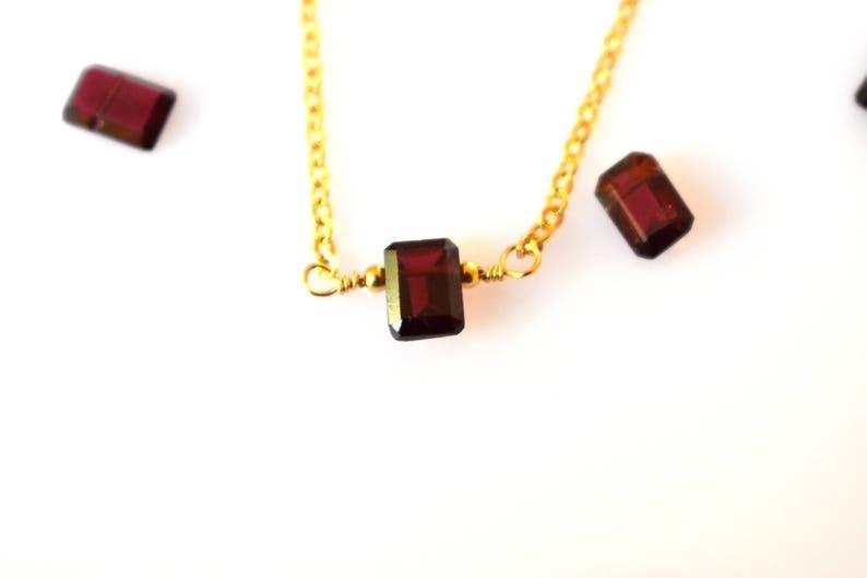 Petite Garnet NecklaceGoldSilverRed Garnet Necklace