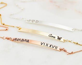 Gold Bar Bracelet with Satellite Chain, Gold, Silver, Rose Gold, Personalized Bracelet, Dainty Bar Bracelet
