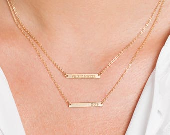 Skinny MINI Bar Necklace, Personalized Gold Bar, Customized Gold Bar Necklace, Silver, Gold or Rose Gold Large Bar Necklace, Bridesmaid Gift