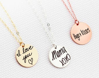 Personalized Memorial Necklace, Handwritten Necklace - YOUR HANDWRITING - or Image, Sterling Silver, Gold or Rose Gold, Jewelry For Her