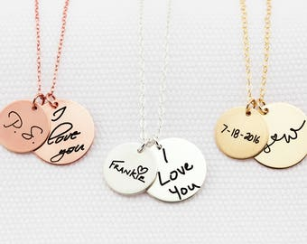 Custom Handwriting Necklace • Actual Handwriting Double Disc Circle Charm Necklace • Keepsake Jewelry • Memorial Necklace • Mom Gift •