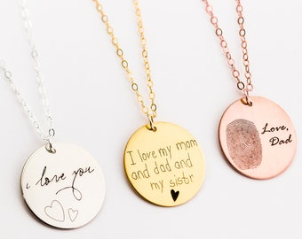 Memorial Necklace, Handwritten Necklace, Personalized Jewelry, Handwriting Jewelry, Custom Necklace, Jewelry For Her