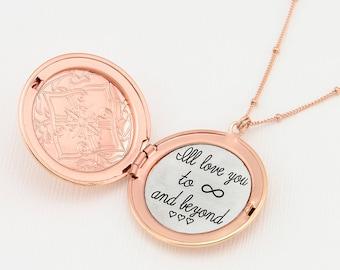 Rosegold Locket Necklace, Custom Engraved Locket Necklace, Engraved Necklace, Customized Necklace, Personalized Gold Necklace