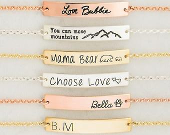 Gold Bar Bracelet, Bar Bracelet, Name Engraved Bracelet, GOLD, ROSEGOLD, SILVER, Bridesmaid Jewelry, Nameplate Bracelet, Valentines Day