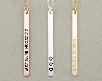 Vertical Skinny Bar Necklace, Long Name Necklace / Personalized Gold Bar Necklace / Personalized Bar Necklace, Gold Bar, Vertical Bar