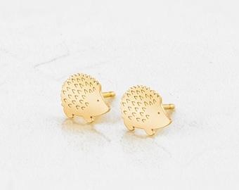 Hedgehog with quills stud earrings