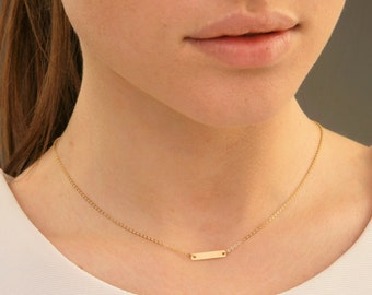 TINY Gold Bar Necklace, Engraved Horizontal Bar Necklace, Initial necklace, Personalized necklace, Engraved, Initial Bar, Bridesmaid Gift