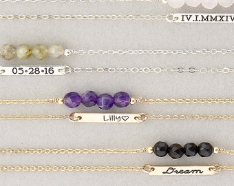 MINI Bar Necklace & Gemstone Bar Layered Gift Set of 2, Gold, Silver, Rose Gold, Personalized Necklaces, Dainty Bar Necklace